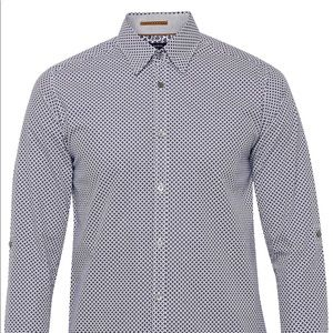 Ted Baker London Navy and White Micro Print Shirt